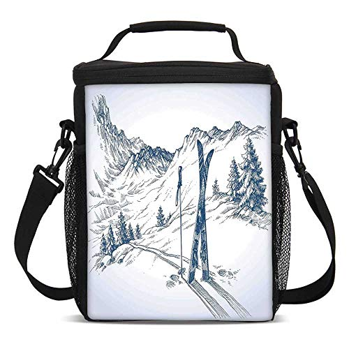 Winter Decorations Fashionable Lunch Bag,Sketchy Graphic of a Downhill with Ski Elements in Snow Relax Calm View for Travel Picnic,One size