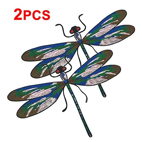 - Large Pair of Colourful Dragonfly Iron on Patches for Bag Dress Clothes Decorated Embroidery Applique Accessories