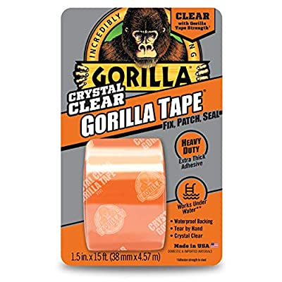 "Gorilla 6015002 Crystal Duct Tape, 1.5"" x 5 yd, (Pack of 1), Clear by Gorilla"