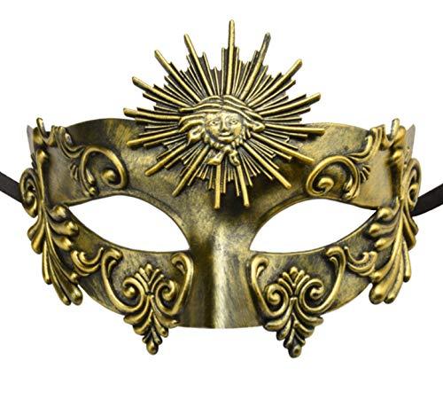 KEFAN Greek Roman Masquerade Mask Halloween Mask Venetian Mardi Gras Mask for Men (Antique Gold)