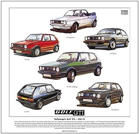 VW Golf GTI impresión - -- Convertible, Mk1, Mk2, 8 V, 16 V y campaña listo para marco.: Amazon.es: Hogar