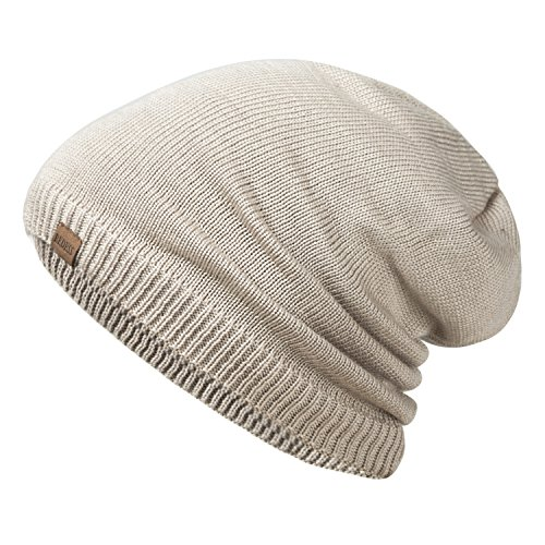 REDESS Slouchy Long Oversized Beanie Hat Women Men, Variy Styles Colors Fleece Lined Winter Warm Knit Cap (Beige)