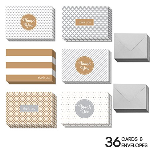 36 Blank Gold Thank You Cards - Bulk 4x6 Cute Cards with Envelopes for Men & (Small Thank You Cards)