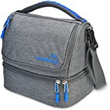 LunchBots Duplex Insulated Lunch Bag - Two Sections Fit All LunchBots Containers Perfectly - Gray with Blue Trim - Fits Uno, Duo, Trio, Quad, Rounds, Bento, Thermal