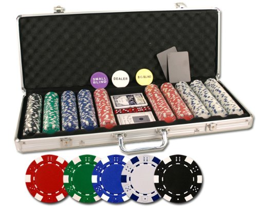Da Vinci 500 Poker Set with Chips Case Dealer Buttons Cards (Large Image)