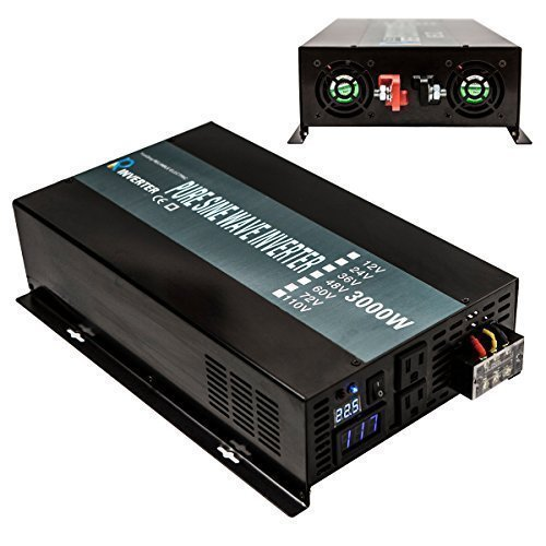 Reliable 3000W High Efficiency Pure Sine Wave Solar Power Inverter 12V 120V 60Hz Power Converter LED Display by WZRELB