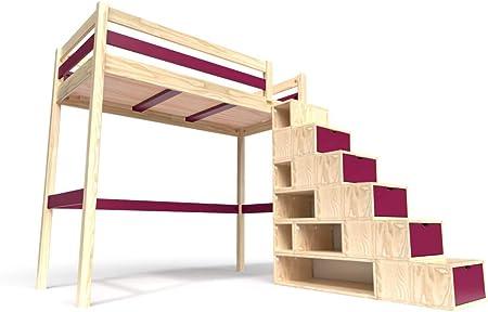 ABC MEUBLES - Cama Alta Sylvia con Escalera Cubo - Cube - Barniz Natural/Ciruela, 90x200: Amazon.es: Hogar
