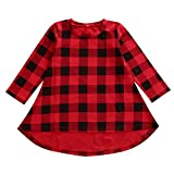 BELS Baby Girls Long Sleeve Plaids Checked Party Princess Dress (1-2T, Red)