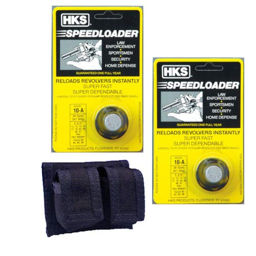 Westlake Market, HKS 2-Pack 10-A Speed Loader 357 Magnum, Fits S&W K Frame, Taurus Mid Frame, Rossi 971 Plus One Double Pouch Case