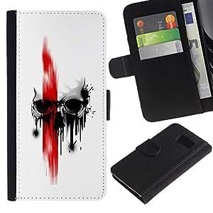 MobileX / Samsung Galaxy S6 SM-G920 / Red Skull / Cuero PU Delgado caso Billetera cubierta Shell Armor Funda Case Cover Wallet Credit Card