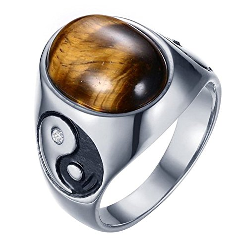 Amulet Eye Tiger (LIANTSH Men's Stainless Steel Ring Oval Tiger's Eye Yin Yang Ba Gua Eight Trigrams Amulet Signet Band)