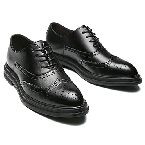 Soirée Fête Hommes Robe Chaussures Printemps Et Automne Cuir Tête Ronde Bullock Lace-Ups Bureau Formel Tuxedo Oxford Chaussures Black njgNNo