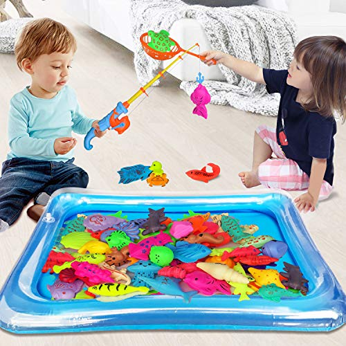 Suwayoo 58pcs Magnetic Fishing Game Toys,Summer Water Pool Toys Set for Kids,Pole Rod Net Inflatable Pool Water Table Bathtub Bath Game,Children's Carnival Gifts Party Favors for Age 3-8 Boys Girls