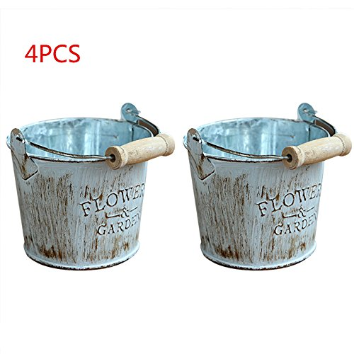 Yunhigh Small Tin Pail Bucket with Handle Mini Metal Flower Pot Container Garden Planter Decorative Candy Favours Box Vintage Shabby Chic Pen Pencil Holder Stationery Organiser - Turquoise
