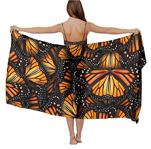 - Fashion Scarves Wrap - Holiday Evening Party Swimsuit Shawl Premium Silk Infinity Scarf Long Summer Elegant Stole Sunscreen Paisley Scarf, Heaps Of Orange Monarch Butterflies Shawls