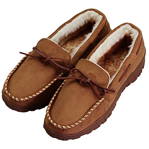 Mens Thick Plush Lining Microsuede Indoor Outdoor Slip On Moccasin Slippers (FBA)