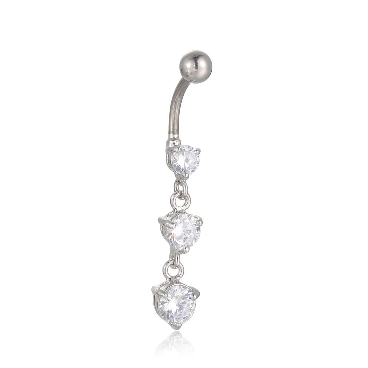 Candyfancy Triple Round Crystal 316l Surgical Steel Dangle Belly Button Ring Navel Ring Barbell 14g BR157