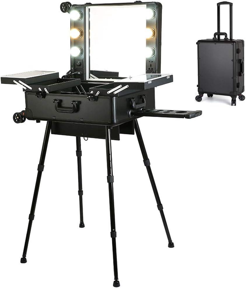 Maleta Profesional de Maquillaje, Maletín de Cosméticos, con 4 Ruedas y LED Luces y Espejo,Tocador Maquillaje Profesional y Bandejas Extensibles Fáciles