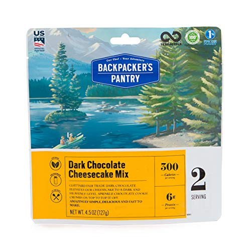 Backpacker's Pantry Dark Chocolate Cheesecake Mix, 2 Servings Per Pouch, Freeze Dried Food, 6 Grams of Protein, Vegetarian