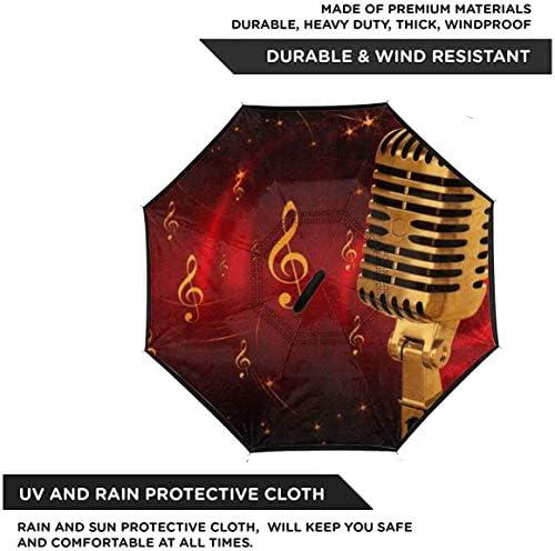 マイクミュージック ユニセックス二重層防水ストレート傘車逆折りたたみ傘C形ハンドル付き