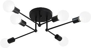 Unitary Brand Art Deco Black Metal Sputnik Design Semi Flush Mount Ceiling Light with 6 E26 Bulb Sockets 360W Painted Finish