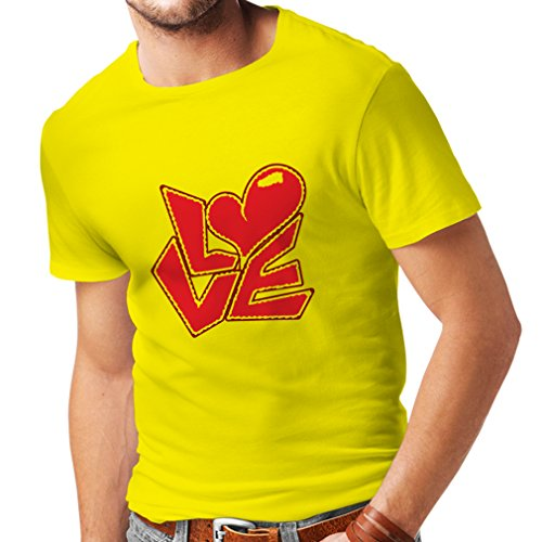 T Shirts For Men Love Quotes - I Love You Gifts (X-Large Yellow Multi Color) (Valentine Day Gift Ideas For Kindergarteners)