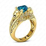 Gemstar Jewellery Exquisite Women's Heart Blue Topaz Skull Ring in 14k Yellow Gold Over 925 Silver