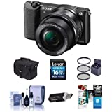 Sony Alpha A5100 Mirrorless Digital Camera 16-50mm E-Mount Lens Black - Bundle Camera Case, 16GB Class 10 SDHC Card, Cleaning Kit, 40.5mm Filter Kit, USB Card Reader, Pc Software Package