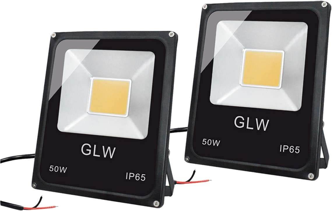 GLW 50W LED Landscape Lights 12V-60V Flood Lights Warm White IP65 Waterproof Walls Trees Flags Outdoor Spotlights with Spike Stand 2 Pack