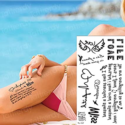tzxdbh Etiqueta engomada del Tatuaje Temporal Palabras Latido del ...