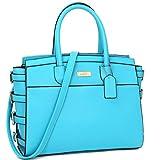 Designer Handbags for Women Top Handle Satchel Purses Side Buckle Briefcase Work Bag w/ Shoulder Strap