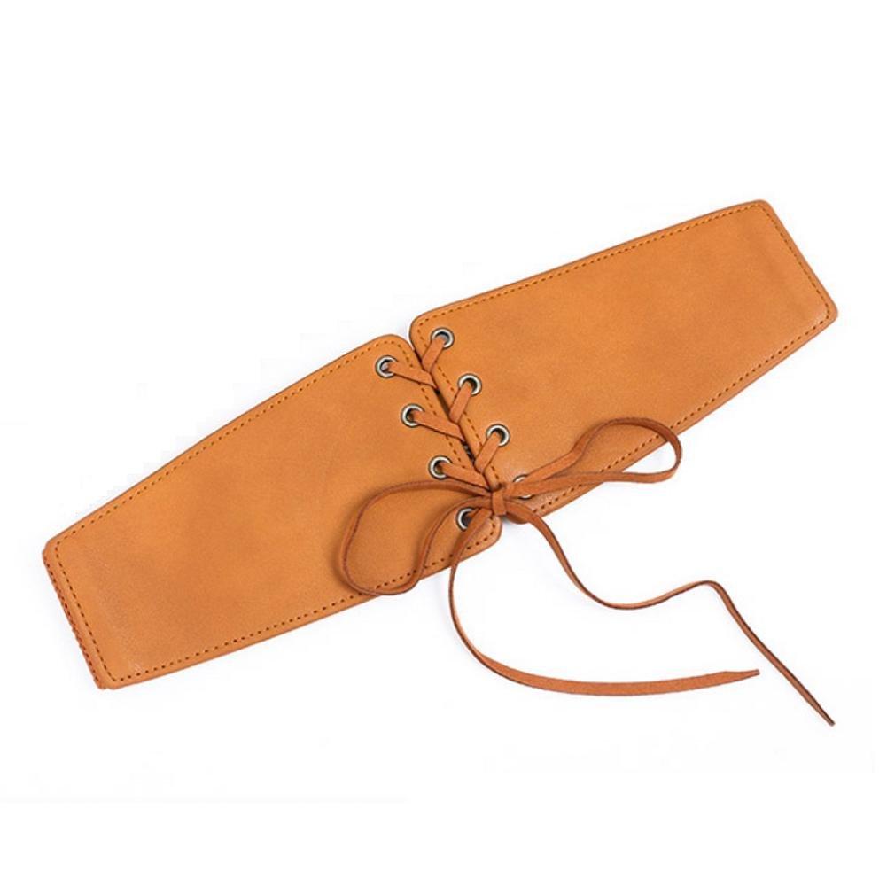 YYHSO Mujeres Moda Accesorios Cordones Amplio Elasticidad de la cintura Tramo Cinturón, brown