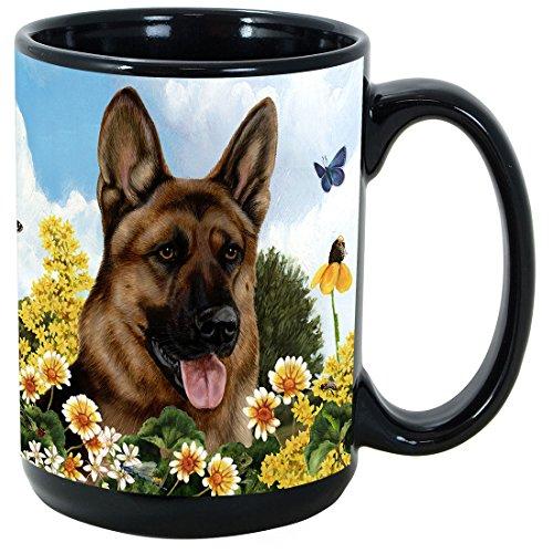 Garden Party [A-K] German Shepherd 15 oz Coffee Mug Bundle with Non-Negotiable K-Nine Kash by Imprints Plus (080) (Box Red Shepherd Gift)