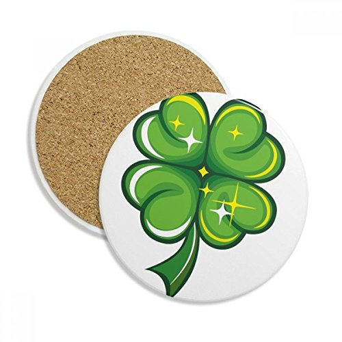 Four Leaf Clover Ireland St.Patrick's Day Stone Drink Ceramics Coasters for Mug Cup Gift 2pcs