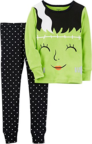 Carter's Baby Girls' Glow-in-The-Dark Halloween Pajamas (24 Months, Green/Black)
