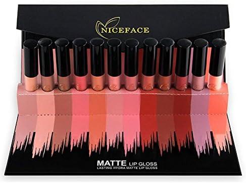 hanyia mate brillo de labios pintalabios labios lápiz duradero labios color labios cosméticos belleza maquillaje caja de regalo embalaje 12 colores: Amazon.es: Belleza