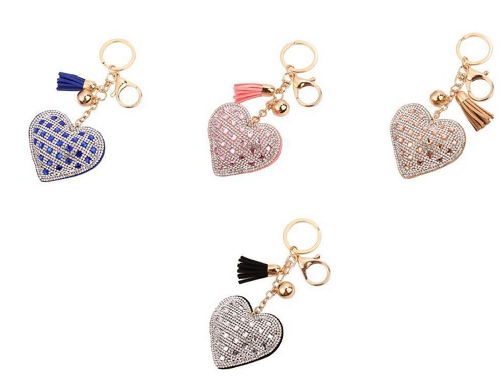 Wedding Blue Kanggest Women Girl Keyring Fashion Elegant Heart Keyring Keychain Stylish Crystal Keyring Car Keyring Pendant Handbag Ornament Gift Keyring for Valentines Day Birthday