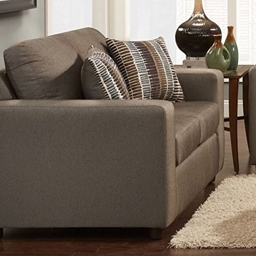 Sofa trendz carli taupe brown loveseat with matching for Brighton taupe 3 piece chaise and sofa set