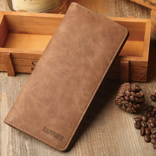 Mens Breast Pocket Wallet - Men's Bifold Leather Breast Pocket Card Holder Purse Suit Long Wallet Checkbook