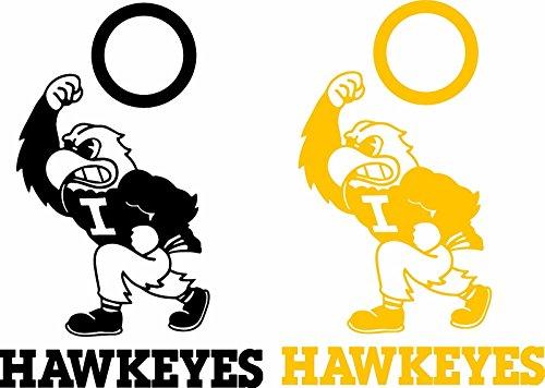 Iowa Hawkeyes Cornhole Set of 6 Vinyl Decal Stickers Herky Bean Bag Iowa Bean Bag