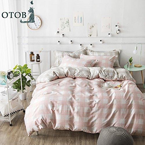 ORUSA Pink White Gingham Queen Duvet Cover Set Full Reversible Quilt Cover for Girls Bedding Set for Kids Adults, Style 1 Gingham Duvet Set