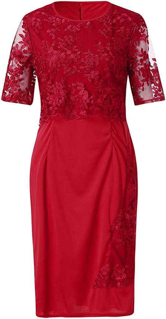 Womens Lace Plus Size Midi Dress Ladies Mesh Elegant Short Sleeve Dress Tummy Control Cocktail Party Dresses S-5XL