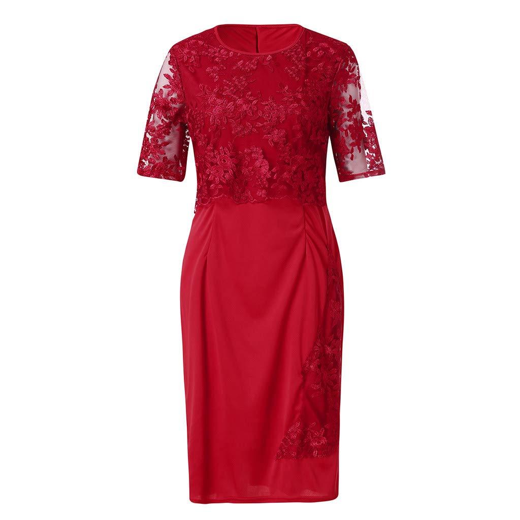 Lace Elegant Dress Women Fashion Bride Knee Length Plus Size Dress