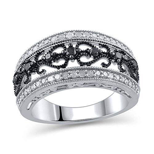 1/2 CT. T.W. Enhanced Black and White Diamond Vintage-Style Anniversary Band in Sterling Silver (I-J/I3) ()