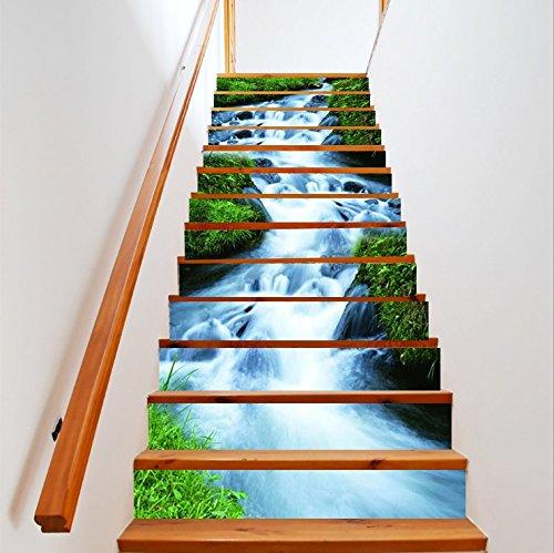 FLFK 3D Verde Erba flussi Design naturalmente paesaggio Autoadesiva Le scale alzata Murale Vinile decalcomania Adesivi per scala decorazione 39,3 pollici x7,08 pollici x 13 pezzi