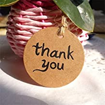 Bazaar 100Pcs Thank you Gift Tags Paper Tags Wedding Cards Brown DIY Party Decorations