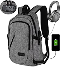 Laptop Backpack, Kobwa Anti-theft Business Slim Computer Bag With USB Charging Port and Headphone Port For Women and Men, Fits Up to 15.6 Inch Laptop Notebook and Tablet IPad (Grey)