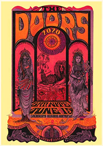 "Wall Calendar 2020 [12 pages 8""x11""] The Doors Vintage Musical Psychedelic Posters Jim Morrison"