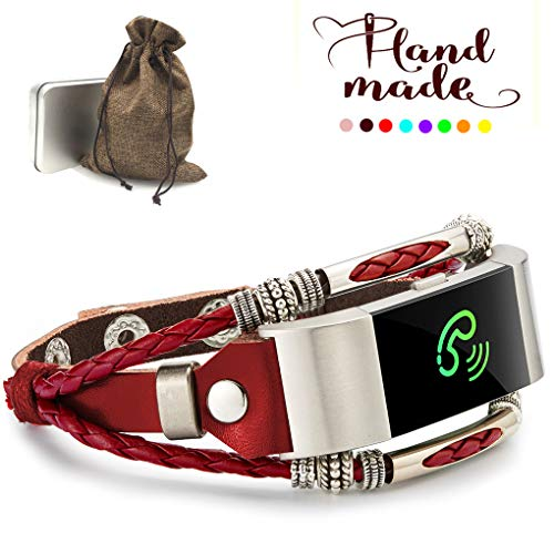 Marval.P Compatible Fitbit Charge 2/HR Bands, Handmade Leather DIY Band, Replacement Bracelet Strap, Wristbands with Adjustable Size, Fashion Wrist Band Straps