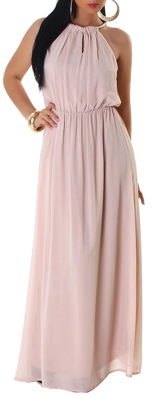 Jela London Damen Neckholder-Maxikleid einfarbig mit goldfarbenem Halsring,  beige Größe 38 40: Amazon.de: Bekleidung